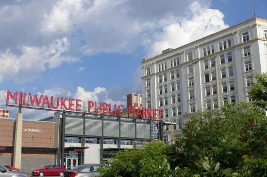 Milwaukee Public Market: View from the River Walk near the bridge