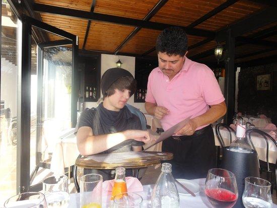Restaurant Montmatre : Braydn and Jean-Pierre, choosing his desert before anything else!