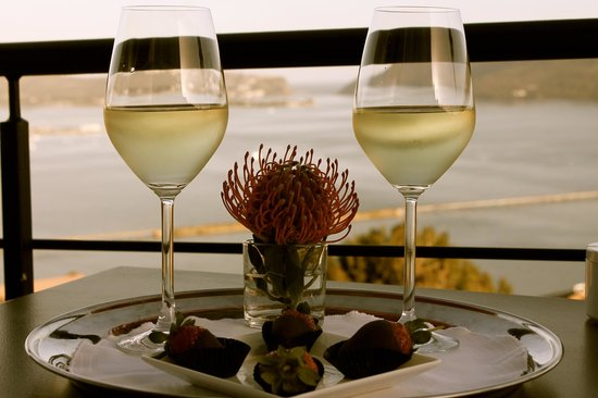 Villa Afrikana Guest Suites: Welcome Wine along with Beautiful View from Balcony