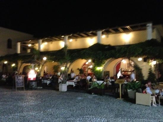 Platanos terrace in evening