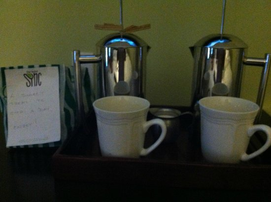 The Hotel SYNC: Delicious french-pressed coffee