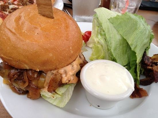 Lumberyard Rotisserie and Grill: burger and wedge salad