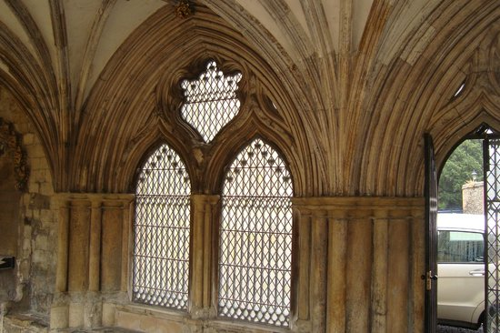 Norwich Cathedral Stone Arches And Window In Cloisters