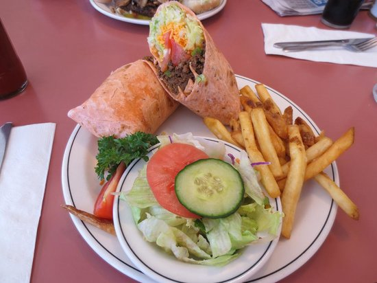 Rolly's Restaurant : taco wrap with half fries half salad
