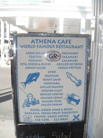 Athena Cafe Nassau Bahamas Menu