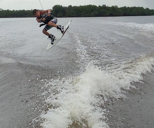 Waterski and Wakeboard Charters: 10 year old clay - wakeboarding at Marco island with Dustin