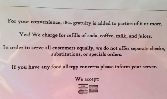 Laurino's Tavern : A nice snippet from the menu for everyone. Says it all.