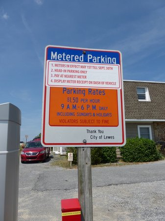 Lewes Beach Lot C Metered Parking sign