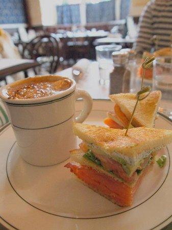 Elysian Cafe: 1/2 salmon club sandwich with french onion soup