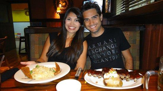 Outback Steakhouse: Pasta Primavera, Ribs on the barbie e Jacket Potato