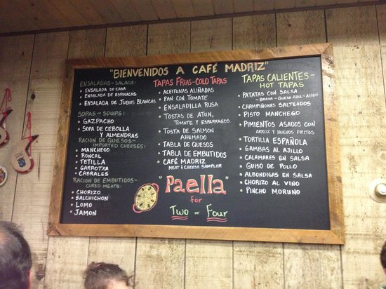 Cafe Madriz: Menu