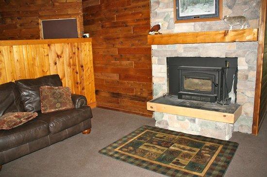 Hiawatha Lodge Inn: Fireplace next to front desk