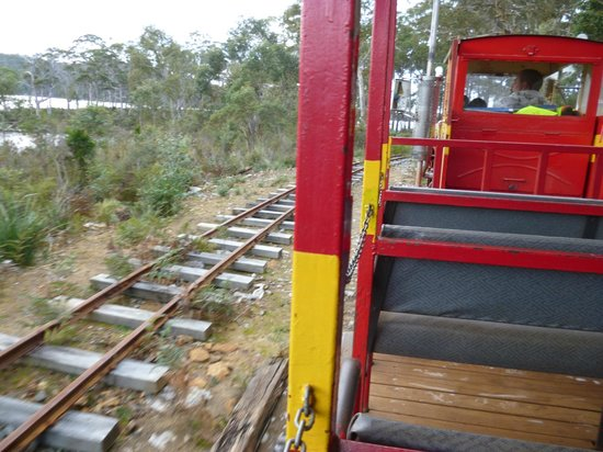 Ida Bay Railway: Open carriage showing duplicate track