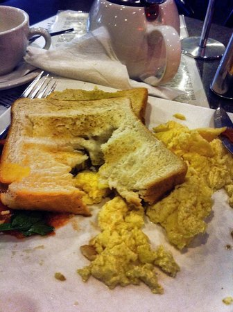 Cafe bean: After cutting into the soggy toast I gave up