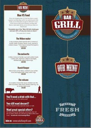 The grill bar: Man VS Food menu