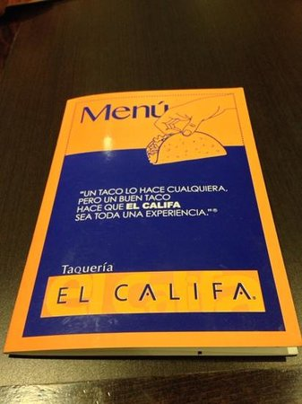 the menu @ el califa
