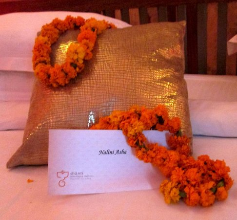 Shanti Home: Greeted with malas and a personalized welcome packet