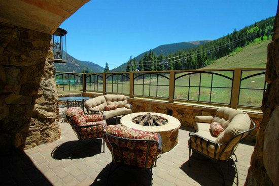 Lone Eagle Condos at River Run Village: Common area deck with seating and gas firepit
