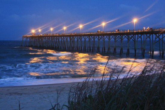 Palm Air Cottages: The Kure Beach Pier at night, within EASY walking distance, less than a block