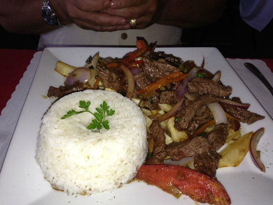 Malulo's International Seafood: steak and fries with rice and onions