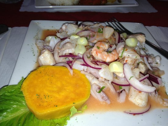 Malulo's International Seafood: seafood ceviche with a cooked yam