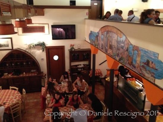 Pizzando Grigliando: foto dal piano superiore verso la sala al piano inferiore e alla caffetteria