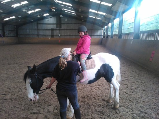 Kirk Michael, UK: Evie getting a lesson with Ernie & Rachel
