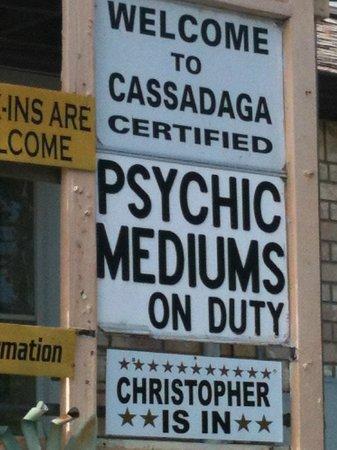 Cassadaga Hotel: Sign across from hotel