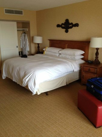 San Antonio Marriott Riverwalk: bed and closet - needs updating