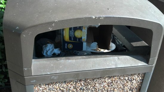 Centerstone Inn : A empty box of Corona beer stuffed in the trash can by the front entrance