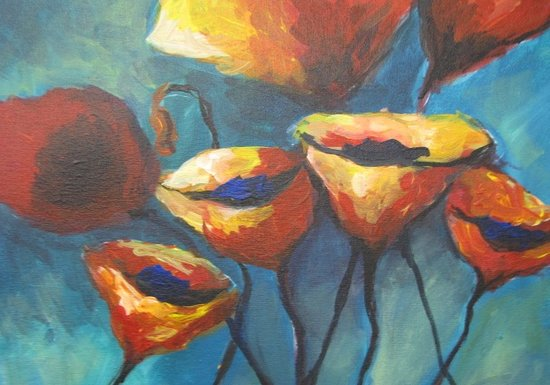Arte Wine and Paint: Poppies in Blue!