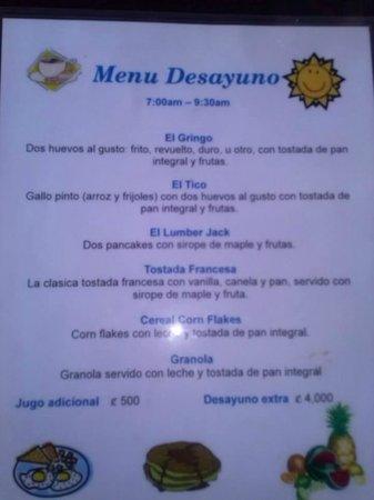 Hotel La Colina: carta