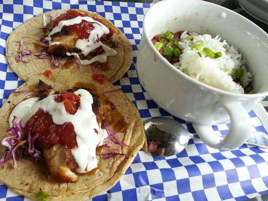 LuLu's at The Thompson House: My Grouper Tacos with Beans and Rice