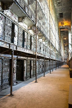 Ohio State Reformatory: A view of the three floor high cell block