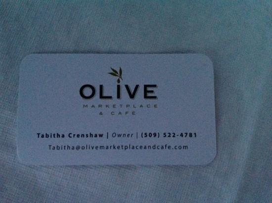 Olive Market Place & Cafe : Visitekaartje!