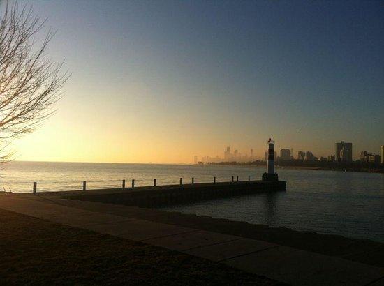 Lake Michigan: The city skyline from Montrose Harbor