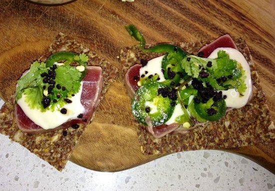 The Boathouse Palm Beach: Seared tuna with aioli, jalepenos, coriander and caviar on seeded flatbread