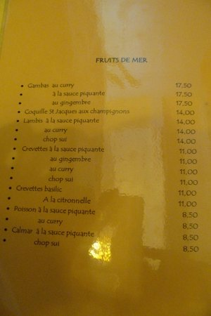 Le Lotus D'asie: menu