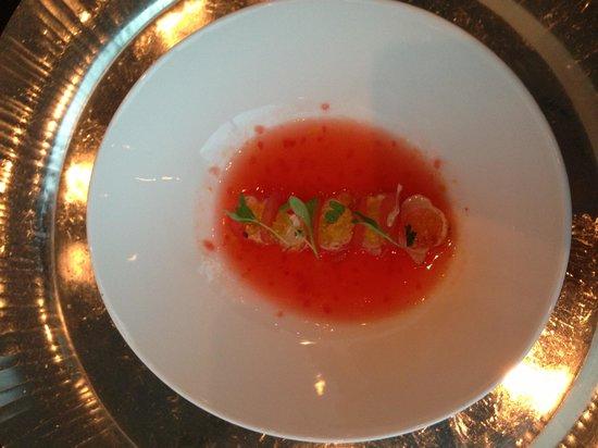 Restaurant Ikarus: Langostino mit Olivenölperlen