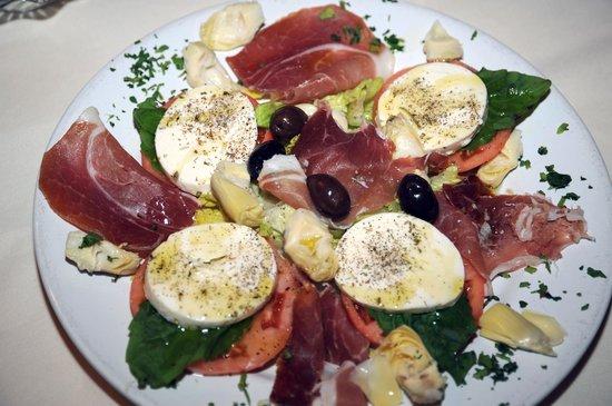 Frank's Ristorante: an anti-pasta, with fresh mozzarella and parma ham