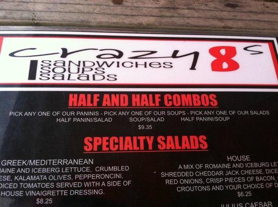 Crazy 8's: menu