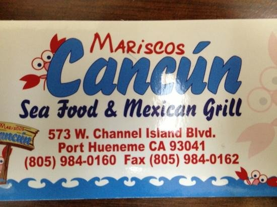 Mariscos Cancun Mexican seafood grill: business card