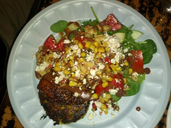 Seaside Gourmet: Blackened Tuna with Veg Risotto Cake, Corn Salsa, Salad, Walnuts, Smokey Vinaigrette