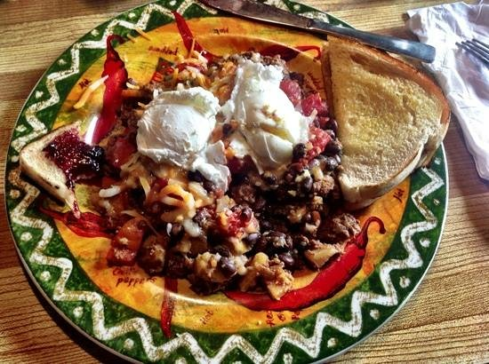 The Ol' Frontier: Mexican breakfast special with sourdough bread and blackberry jam