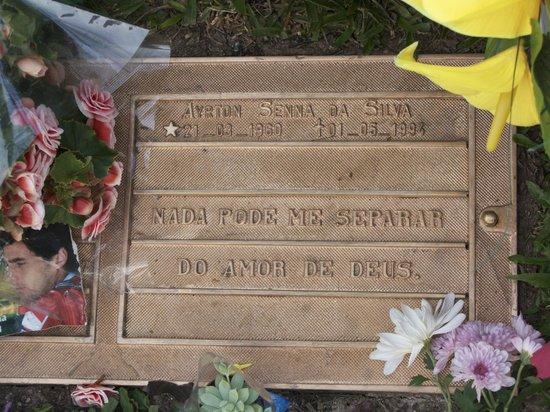 Senna's Grave Morumbi Cemetery: Plaque on Ayrton Senna's grave