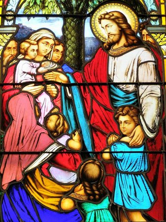 St. Michael's Parish: One of St. Michael's breathtaking Tiffany stained glass windows.