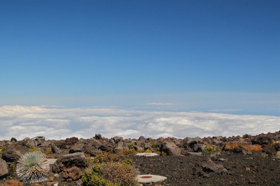 Haleakala Crater: Looking down on cloud-base
