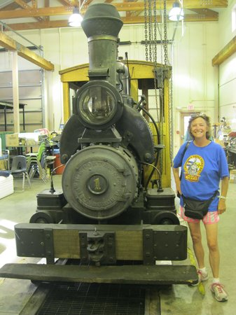 Pioneer Park: Mary standing next to first steam engine in Alaska