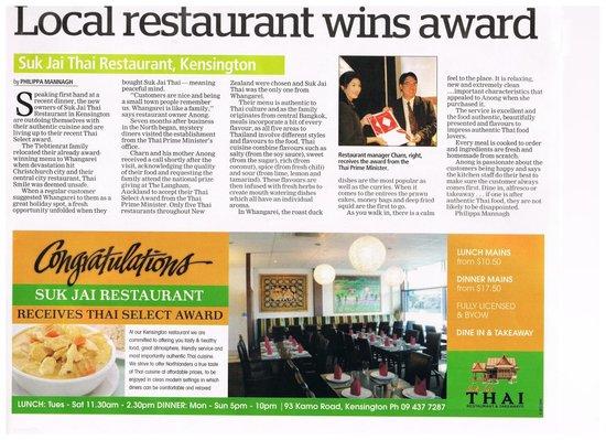 Suk Jai Thai Restaurant: Local Newspaper Featured Our Story