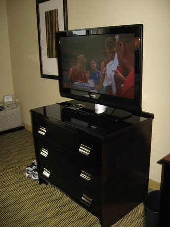 Crowne Plaza Jacksonville Airport Hotel: Bureau and Flat Screen TV in Executive Level room